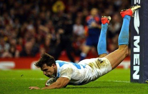 Argentina's wing Juan Imhoff scores a try during their Autumn International rugby union match against Wales at the Millennium Stadium in Cardiff, Wales. Argentina became the first team to beat Six Nations Grand Slam winners Wales at home this year as they recorded a come from behind 26-12 win