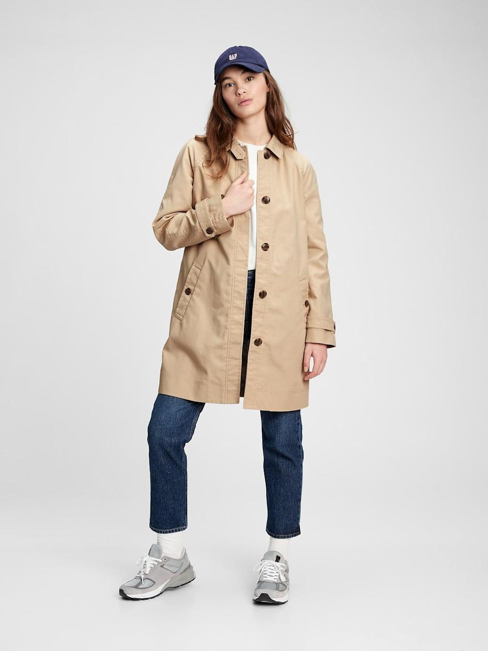 <p>This <span>Gap Mac Coat</span> ($96, originally $128) is classic spring chic. Pair it with a great mini skirt and basket bag for a '60s vibe.</p>