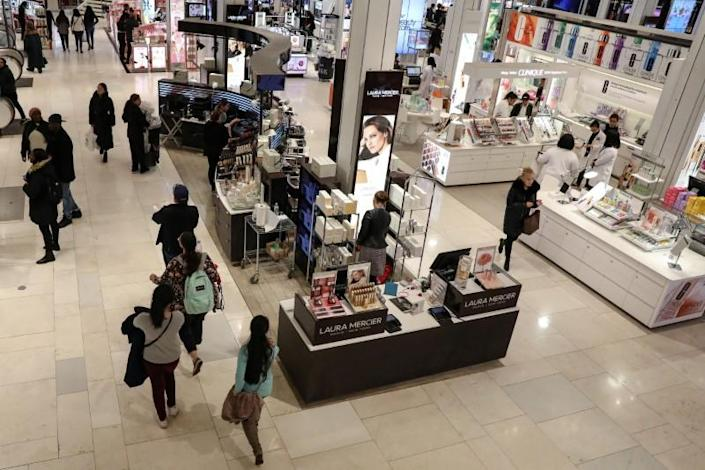 People shop at Macy's Department store in New York