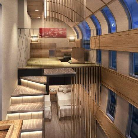 A rendering of a two-storey suite aboard Train Suite Shiki-Shima