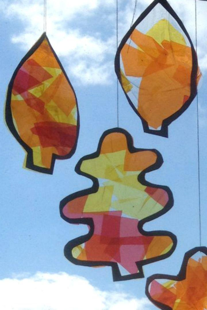 """<p>Use red, orange and yellow cellophane to bring out the colors of the season in a craft that looks reminiscent of a stained-glass window. You can also make this craft in a <a href=""""https://www.craftsonsea.co.uk/stained-glass-pumpkin-suncatcher/"""" rel=""""nofollow noopener"""" target=""""_blank"""" data-ylk=""""slk:pumpkin shape"""" class=""""link rapid-noclick-resp"""">pumpkin shape</a>.</p><p><em><a href=""""https://www.craftsonsea.co.uk/autumn-leaf-suncatchers-2/"""" rel=""""nofollow noopener"""" target=""""_blank"""" data-ylk=""""slk:Get the tutorial at Crafts on Sea »"""" class=""""link rapid-noclick-resp"""">Get the tutorial at Crafts on Sea »</a></em></p><p><strong>RELATED: </strong><a href=""""https://www.goodhousekeeping.com/holidays/halloween-ideas/g22062770/halloween-crafts-for-kids/"""" rel=""""nofollow noopener"""" target=""""_blank"""" data-ylk=""""slk:Easy and Creative Halloween Crafts for Kids That You Can Make as a Family"""" class=""""link rapid-noclick-resp"""">Easy and Creative Halloween Crafts for Kids That You Can Make as a Family</a></p>"""