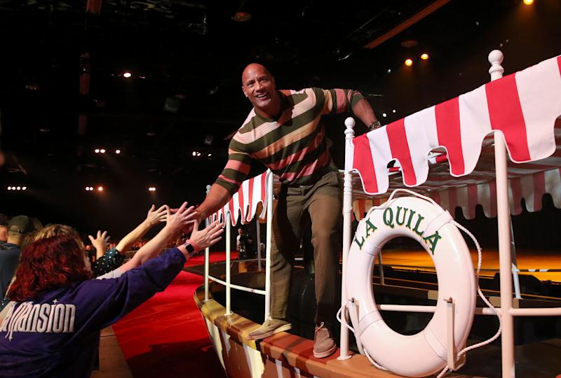 Dwayne Johnson of 'Jungle Cruise' took part today in the Walt Disney Studios presentation at Disney's D23 EXPO 2019 in Anaheim, Calif. 'Jungle Cruise' will be released in U.S. theaters on July 24, 2020. (Photo by Jesse Grant/Getty Images for Disney)