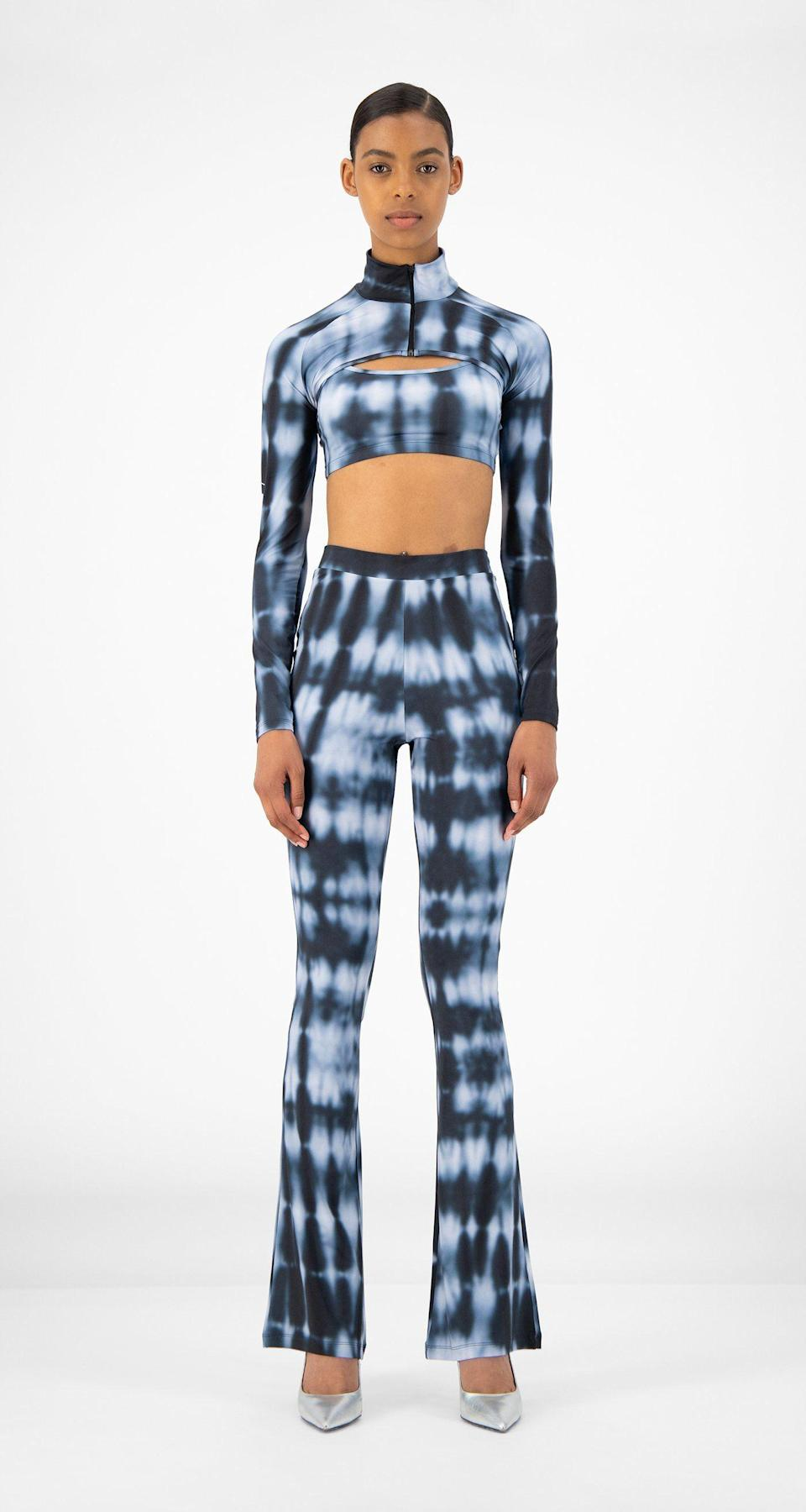 """<p><strong>Daily Paper</strong></p><p>dailypaperclothing.com</p><p><strong>92.00</strong></p><p><a href=""""https://www.dailypaperclothing.com/collections/women-all/products/blue-shibori-reflare-pants?variant=31587368796294"""" rel=""""nofollow noopener"""" target=""""_blank"""" data-ylk=""""slk:Shop Now"""" class=""""link rapid-noclick-resp"""">Shop Now</a></p><p>Choose sleek color combos in streamlined silhouettes to give your tie dye shirt or pants a more sophisticated look. </p>"""