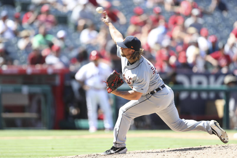 ANAHEIM, CA - JULY 31: Detroit Tigers relief pitcher Trevor Rosenthal (19) pitches in relief for Detroit during the game between the Detroit Tigers and the Los Angeles Angels of Anaheimon July 31, 2019, at Angel Stadium of Anaheim in Anaheim, CA. (Photo by Peter Joneleit/Icon Sportswire via Getty Images)