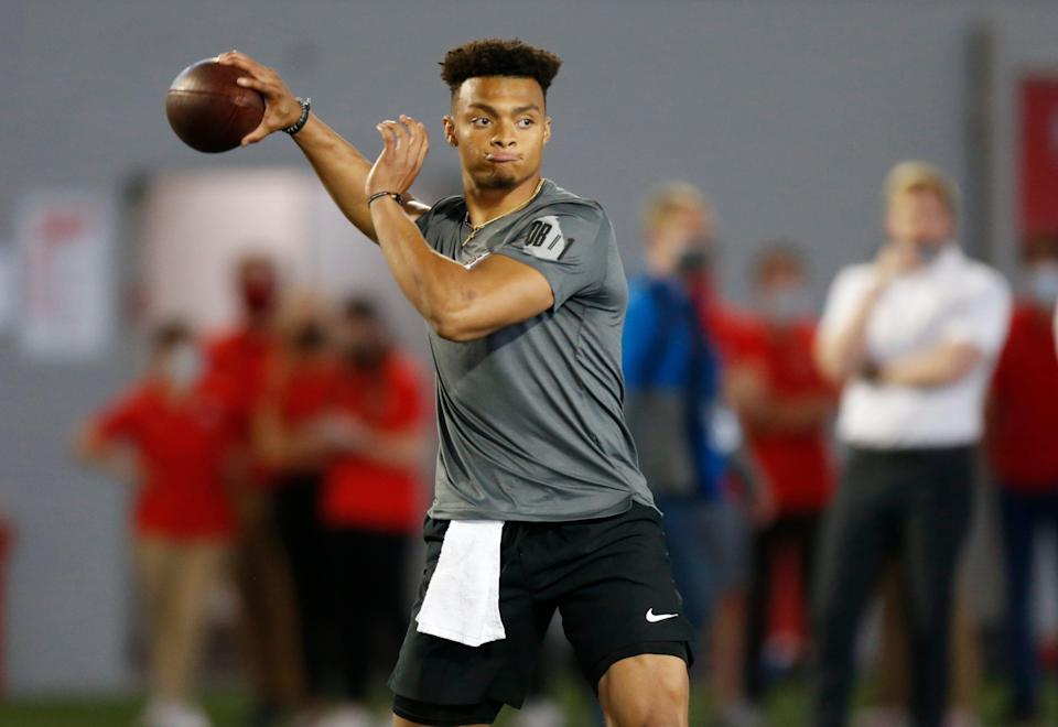 Quarterback Justin Fields throws during his pro day at Ohio State University Tuesday, March 30, 2021 in Columbus, Ohio.