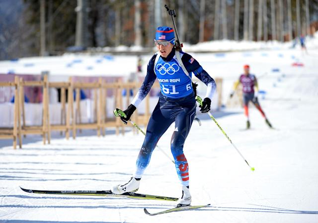SOCHI, RUSSIA - FEBRUARY 03: Susan Dunklee of United States takes part in a Biathlon training session ahead of the Sochi 2014 Winter Olympics at Laura Cross-Country Ski and Biathlon Center, Mountain Cluster on February 3, 2014 in Sochi, Russia. (Photo by Harry How/Getty Images)