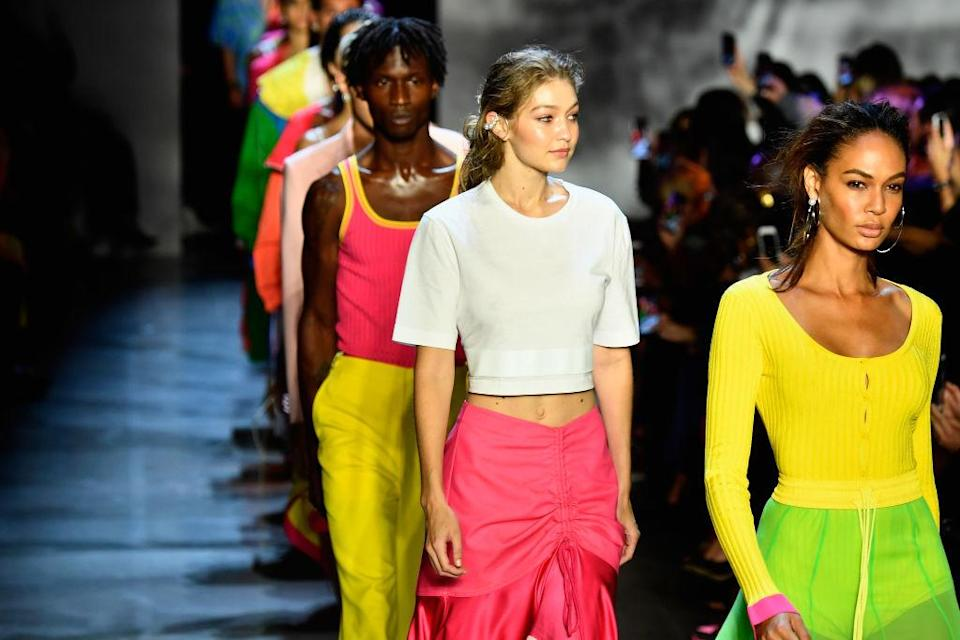 Joan Smalls, Gigi Hadid, and more models walk the runway at the Prabal Gurung show during New York Fashion Week: The Shows at Gallery I at Spring Studios on Sept. 9, 2018, in New York City. (Photo: Getty Images)