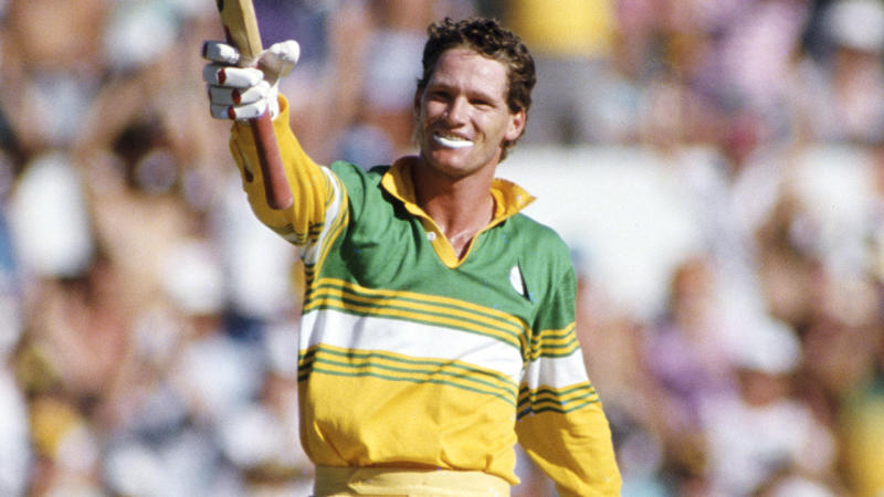 Dean Jones, pictured here after scoring a century for Australia in 1987.