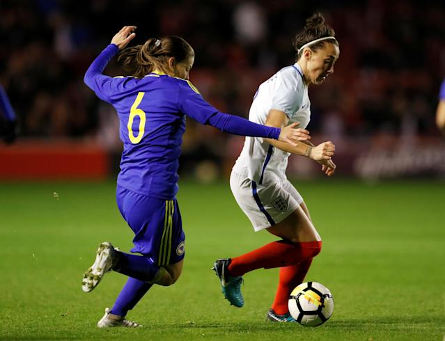 Soccer Football - Women's World Cup Qualifier - England vs Bosnia & Herzegovina - The Banks's Stadium, Walsall, Britain - November 24, 2017 England's Lucy Bronze in action with Bosnia's Marija Aleksic Action Images via Reuters/Andrew Boyers
