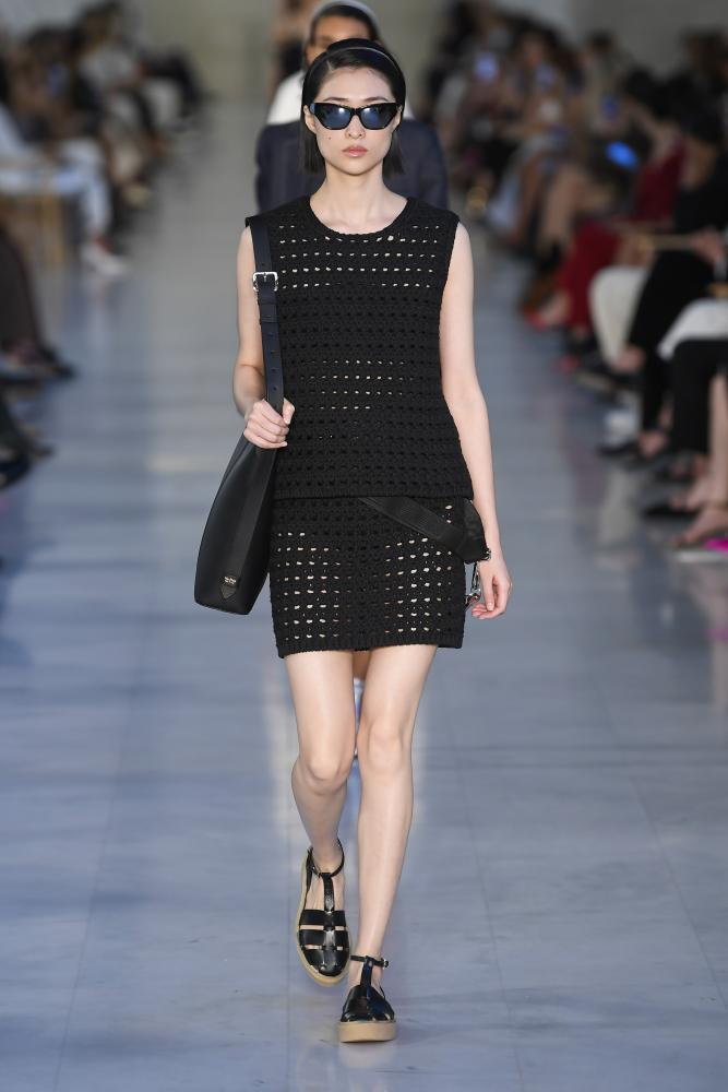 One of the models on the Max Mara catwalk in Milan.