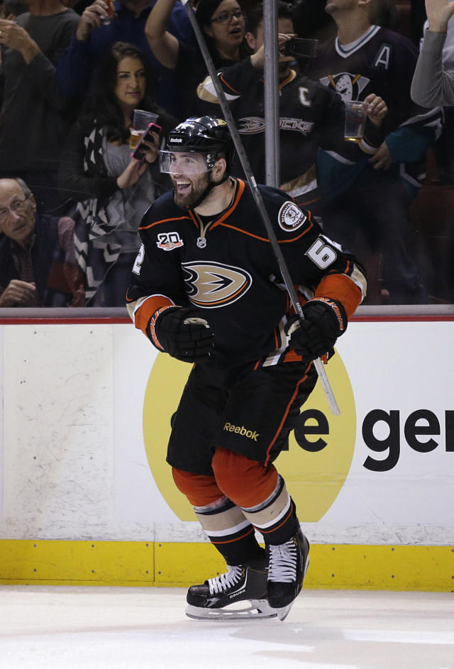 Anaheim Ducks' Patrick Maroon celebrates his goal against the San Jose Sharks during the second period of an NHL hockey game Wednesday, April 9, 2014, in Anaheim, Calif. (AP Photo/Jae C. Hong)