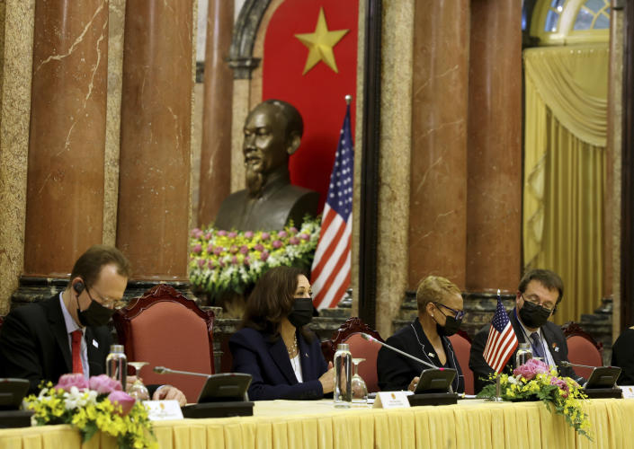 U.S. Vice President Kamala Harris, second left, attends a bilateral meeting with Vietnam's Vice President Vo Thi Anh Xuan at the Presidential Palace in Hanoi, Vietnam, Wednesday, Aug. 25, 2021. (Evelyn Hockstein/Pool Photo via AP)