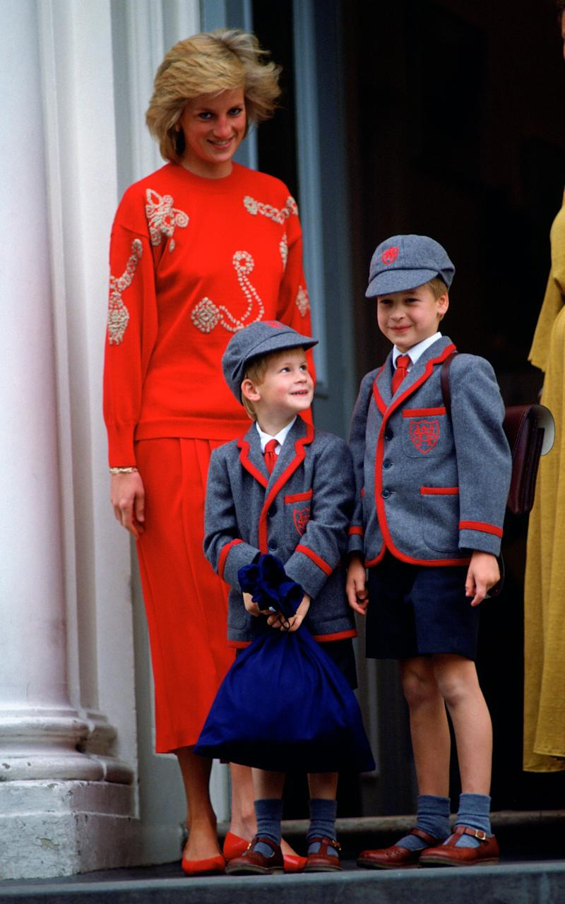 Princess Diana with her sons Prince Harry and Prince William