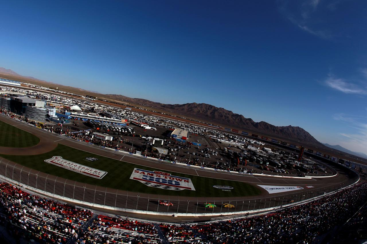 LAS VEGAS, NV - MARCH 10:  Cars race during the NASCAR Nationwide Series Sam's Town 300 at Las Vegas Motor Speedway on March 10, 2012 in Las Vegas, Nevada.  (Photo by Ronald Martinez/Getty Images for NASCAR)