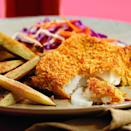 <p>Fish and chips are traditionally sold wrapped in paper to soak up all the grease--not a good sign. To cut the calories in half and reduce the fat, we coat the delicate fish in a crispy cornflake crust and then bake it along with sliced potatoes. Serve with: Coleslaw and malt vinegar or lemon wedges.</p>