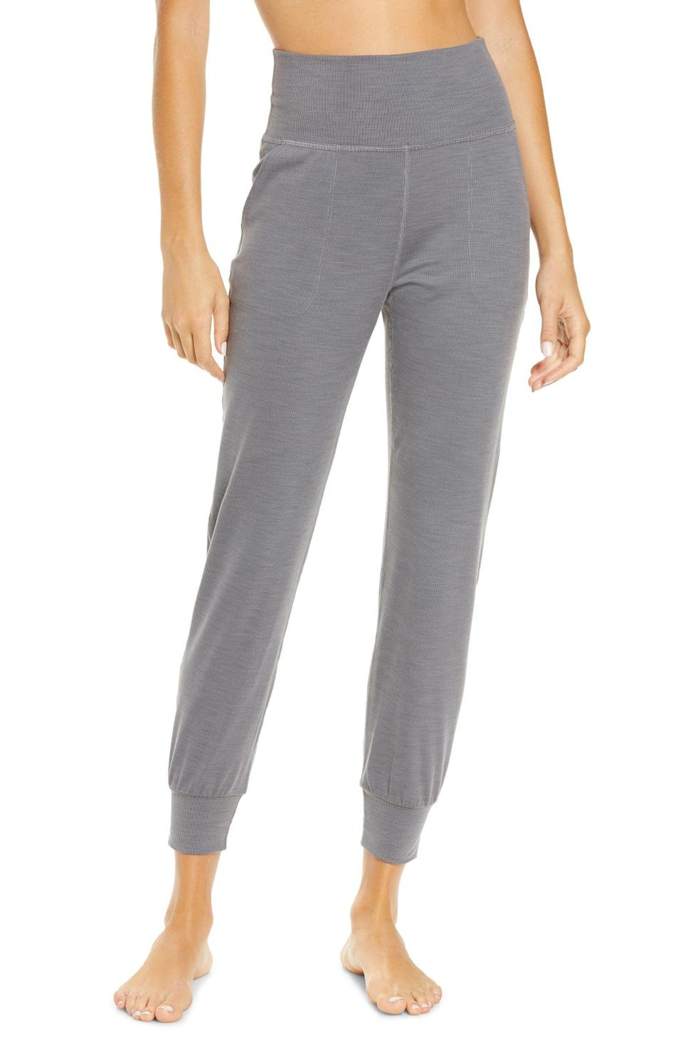 <p>Go from a yoga flow to making breakfast in these cozy <span>Beyond Yoga Heather Rib Jogger Pants</span> ($110).</p>