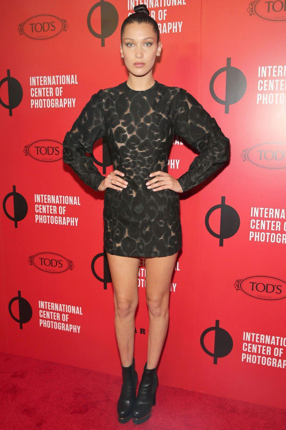 <p>In short lace, long sleeved dress at the International Center Of Photography's 2016 Infinity awards in New York City.</p>