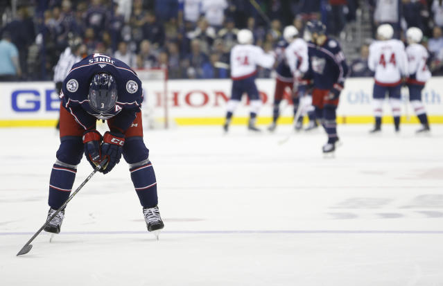 Columbus Blue Jackets' Seth Jones reacts to losing to the Washington Capitals in Game 6 of an NHL first-round hockey playoff series Monday, April 23, 2018, in Columbus, Ohio. The Capitals defeated the Blue Jackets 6-3. (AP Photo/Jay LaPrete)