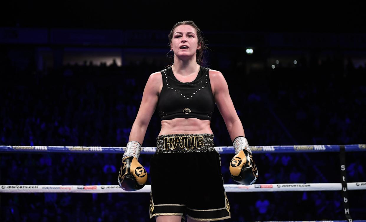 MANCHESTER , UNITED KINGDOM - 2 November 2019; Katie Taylor following her WBO Women's Super-Lightweight World title fight victroy ove Christina Linardatou at the Manchester Arena in Manchester, England. (Photo By Stephen McCarthy/Sportsfile via Getty Images)