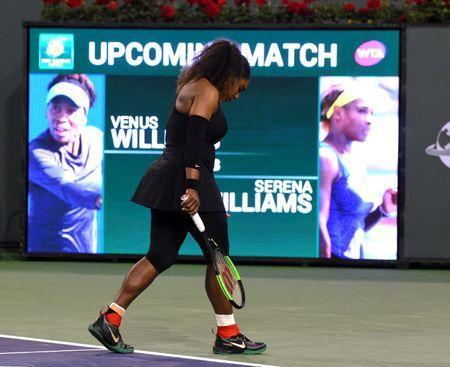 Mar 12, 2018; Indian Wells, CA, USA; Serena Williams (USA) warms up for her third round match against Venus Williams (not pictured) in the BNP Paribas Open at the Indian Wells Tennis Garden. Venus Williams won the match. Mandatory Credit: Jayne Kamin-Oncea-USA TODAY Sports