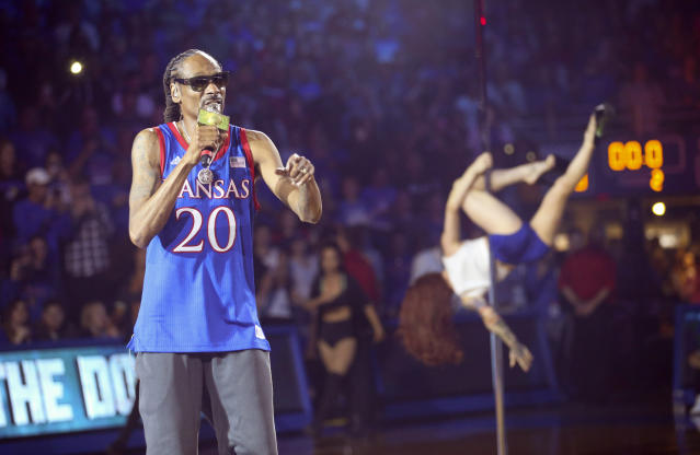 Kansas may still be upset about his performance the other night, but Snoop Dogg has no regrets whatsoever. (Nick Krug/The Lawrence Journal-World/AP)