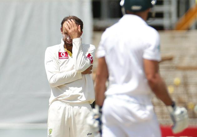 Nathan Lyon of Australia looks on after bowling to Faf du Plessis of South Africa during day five of the Second Test Match between Australia and South Africa at Adelaide Oval on November 26, 2012 in Adelaide, Australia.  (Photo by Scott Barbour/Getty Images)