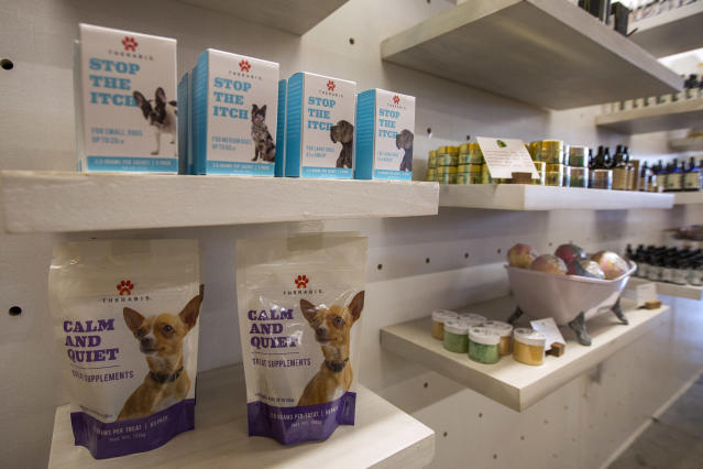<p>Cannabis products for pets are displayed at MedMen, one of the two Los Angeles area pot shops that began selling marijuana for recreational use under the new California marijuana law today, on Jan. 2, 2018 in West Hollywood, Calif. (Photo: David McNew/Getty Images) </p>