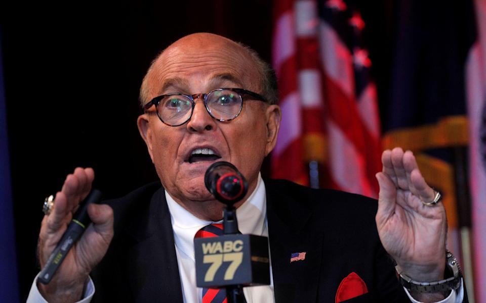 Former NYC Mayor Giuliani speaks about the 20th anniversary of 9/11 attacks in New York City - Brendan McDermid/Reuters