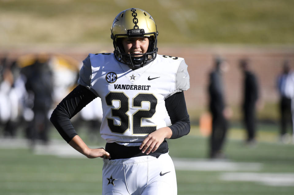 Sarah Fuller in the Vanderbilt football uniform.