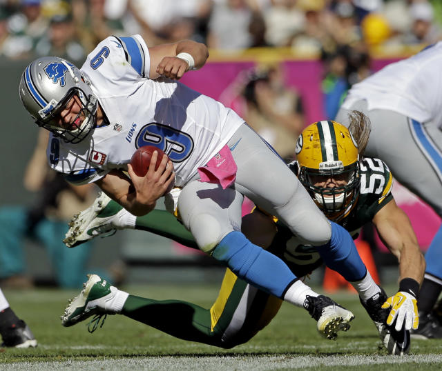 FILE - In this Sunday, Oct. 6, 2013, file photo, Green Bay Packers' Clay Matthews (52) sacks Detroit Lions quarterback Matthew Stafford during the second half of an NFL football game in Green Bay, Wis. Stafford was sacked five times by Green Bay and didn't have his top two receivers on the field. (AP Photo/Morry Gash, File)