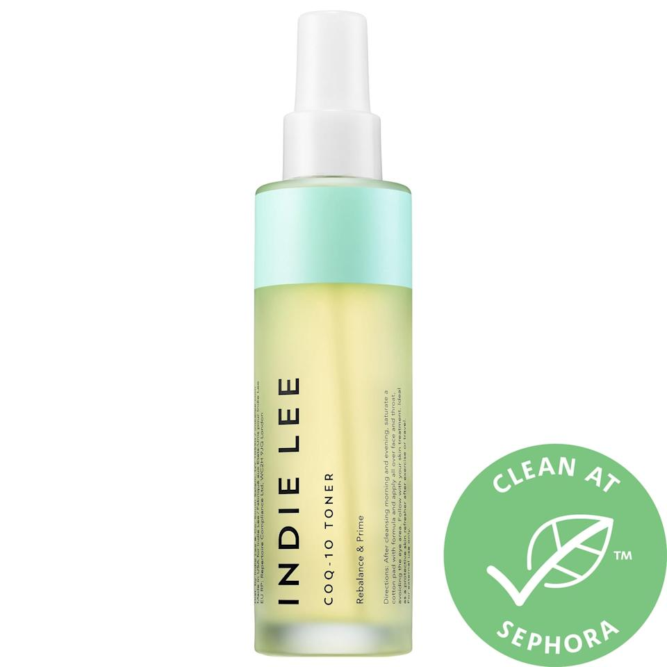 <p>After cleansing, spritz on this <span>Indie Lee CoQ-10 Toner</span> ($34) and let its antioxidant-rich formula work its magic. Packed with aloe vera, sage, chamomile, and cucumber extract, the protection offered lasts no matter what environmental stressors come skin's way.</p>