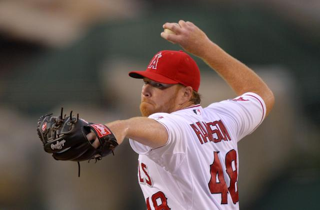 Los Angeles Angels starting pitcher Tommy Hanson throws to the plate during the first inning of their baseball game against the Toronto Blue Jays, Friday, Aug. 2, 2013, in Anaheim, Calif. (AP Photo/Mark J. Terrill)