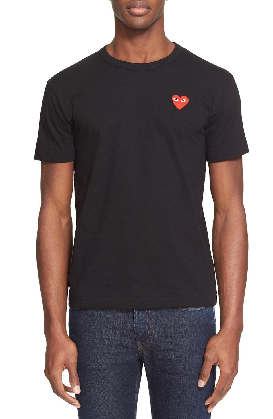<p>Give his shirt selection a major upgrade when you snag him this <span>Comme des Garçons PLAY Cotton Jersey Slim Fit Crewneck T-Shirt</span> ($103).</p>