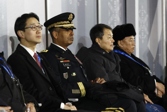 <p>U.S. Gen. Vincent K. Brooks, second from left, commander of the United Nations Command, Combined Forces Command and United States Forces Korea, watches the closing ceremony of the 2018 Winter Olympics in Pyeongchang, South Korea, Sunday, Feb. 25, 2018. Seated at far right is Kim Yong Chol, vice chairman of North Korea's ruling Workers' Party Central Committee. (AP Photo/Patrick Semansky, Pool) </p>