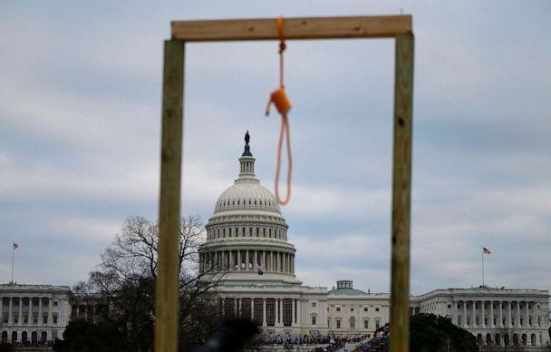 PHOTO: A noose is seen on makeshift gallows as supporters of President Donald Trump gather on the West side of the Capitol, Jan. 6, 2021. (Andrew Caballero-Reynolds/AFP via Getty Images)
