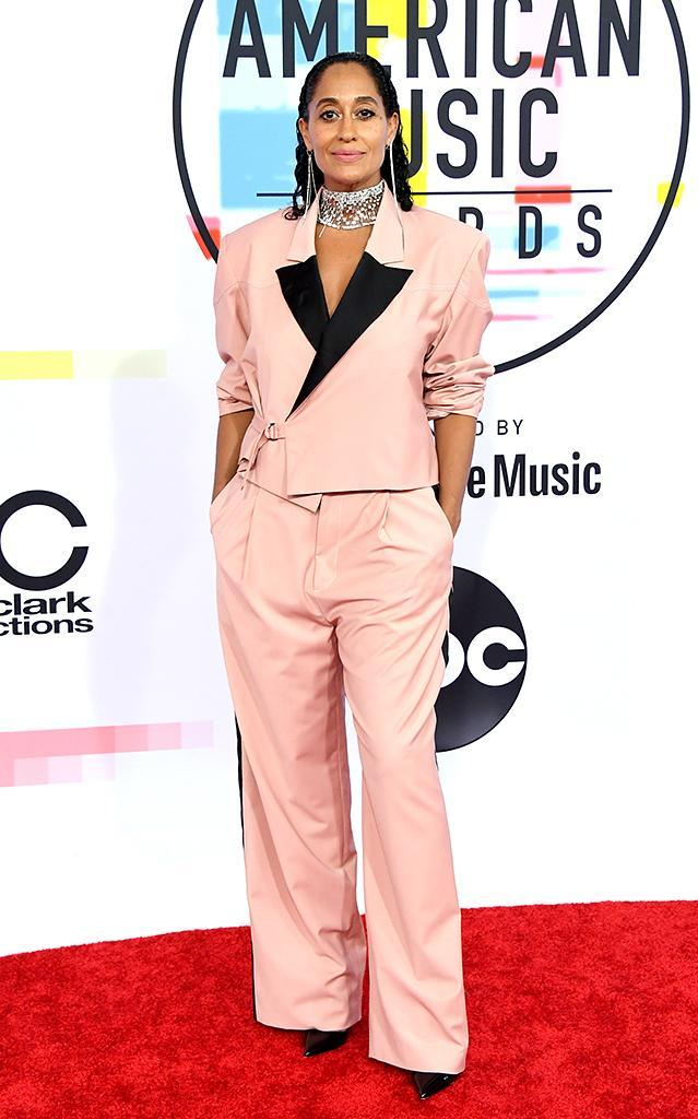 <p>Tracee Ellis Ross was ready to work. The <i>Black-ish</i> actress arrived to host the night's show, which she also executive produced, in a suit designed by Pyer Moss. (Photo: Jon Kopaloff/FilmMagic) </p>