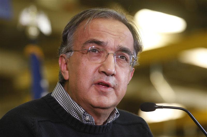 Chrysler Group Chairman and CEO Sergio Marchionne addresses audience during news conference at Chrysler Mack I Engine Plant to announce major financial investment and more jobs added to engine plant in Detroit in this file photo