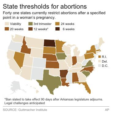 Map identifies states with time-based restrictions on abortions.