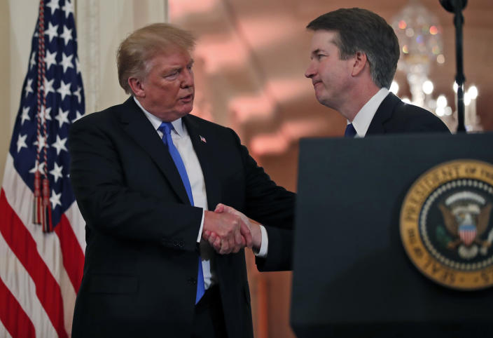 President Trump with Judge Brett Kavanaugh, his Supreme Court nominee, in the East Room of the White House on Monday. (Photo: Alex Brandon/AP)
