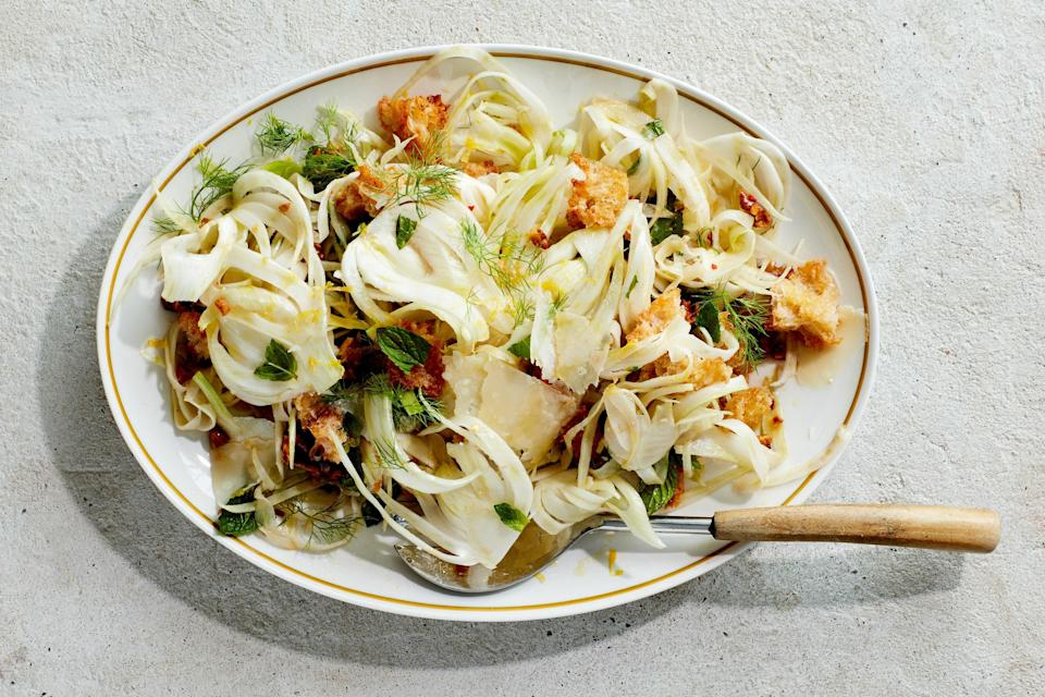 """Shavings of fennel bend and twist but keep their refreshing crunch among a lean dressing and nuggets of deeply toasted croutons, meaty walnuts, and shards of Parmesan. <a href=""""https://www.epicurious.com/recipes/food/views/shaved-fennel-salad?mbid=synd_yahoo_rss"""" rel=""""nofollow noopener"""" target=""""_blank"""" data-ylk=""""slk:See recipe."""" class=""""link rapid-noclick-resp"""">See recipe.</a>"""