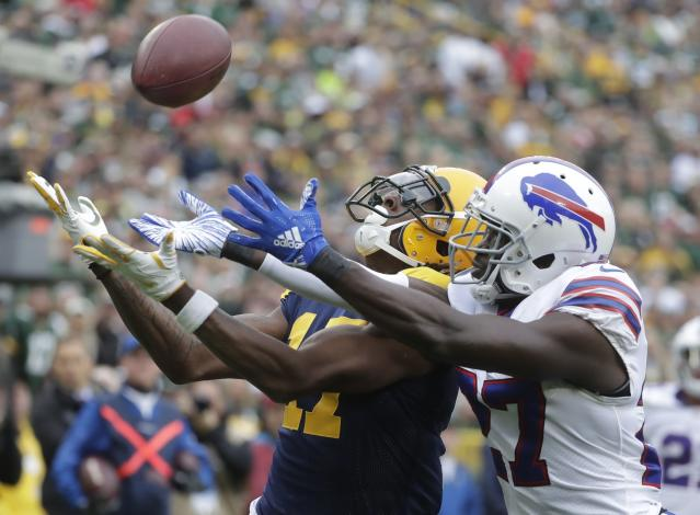 FILE - In this Sunday, Sept. 30, 2018, file photo, Buffalo Bills' Tre'Davious White breaks up a pass intended for Green Bay Packers' Davante Adams during the first half of an NFL football game in Green Bay, Wis. On Sunday, White is faced with the daunting challenge of defending DeAndre Hopkins, the NFL's leading receiver, in Buffalo's game at the Houston Texans. (AP Photo/Morry Gash, File)