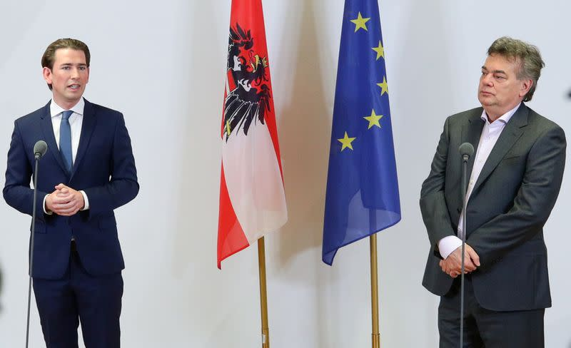 Leader of Austria's Green Party Werner Kogler and head of People's Party (OeVP) Sebastian Kurz deliver a statement in Vienna