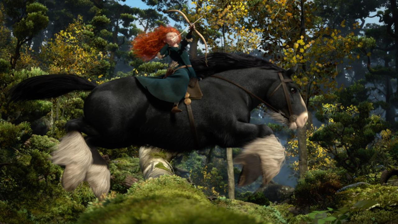 <p>This is the scene from the Oscar-winning 2012 Disney-Pixar film. Merida and her trusty steed Angus race through the forest, one of the few places the princess can loose some arrows and be herself. </p>
