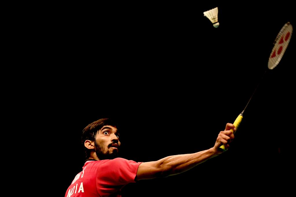 Srikanth Kidambi of India returns a shot against Son Wan Ho of South Korea during their men's singles semi-final match at the Indonesia Open badminton tournament in Jakarta (AFP Photo/GOH Chai Hin)