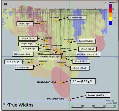 Figure 2 - Father Brown: long section looking East showing significant results of inferred resource extension drilling programs https://www.gsr.com/operations/wassa/wassa-main/default.aspx (CNW Group/Golden Star Resources Ltd.)