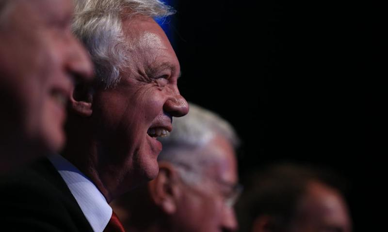 David Davis, the secretary of State for exiting the EU, at the Tory party conference.