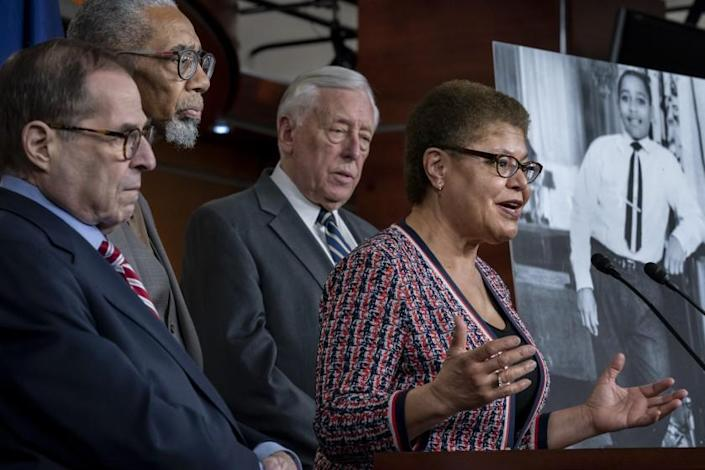 """Rep. Karen Bass (D-Calif.), chair of the Congressional Black Caucus, holds a news conference with other congressional leaders in Washington. <span class=""""copyright"""">(J. Scott Applewhite / Associated Press)</span>"""