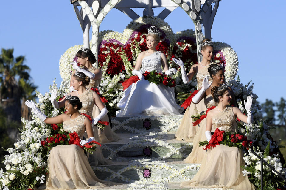 FILE - In this Jan. 1, 2020, file photo, The Royal Court, clockwise from lower left, Princesses Rukan Saif, Mia Thorsen, Emilie Risha, Rose Queen Camille Kennedy, Princesses Reese Rosental Saporito, Michael Wilkins and Cole Fox at the 131st Rose Parade in Pasadena, Calif. Organizers said Wednesday, July 15, 2020 they have canceled the 2021 Rose Parade because of the impact of the coronavirus pandemic on long-range planning for the New Year's Day tradition and the risk of spreading infections among its huge audience. (AP Photo/Michael Owen Baker, File)