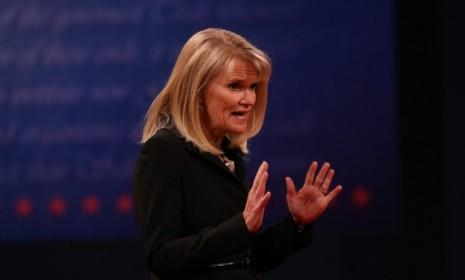 VP Debate moderator Martha Raddatz speaks prior to the vice-presidential debate at Centre College in Danville, Ky.: Raddatz approached the debate as a journalist, asking tough questions on topics like the Libyan consulate attack and abortion.