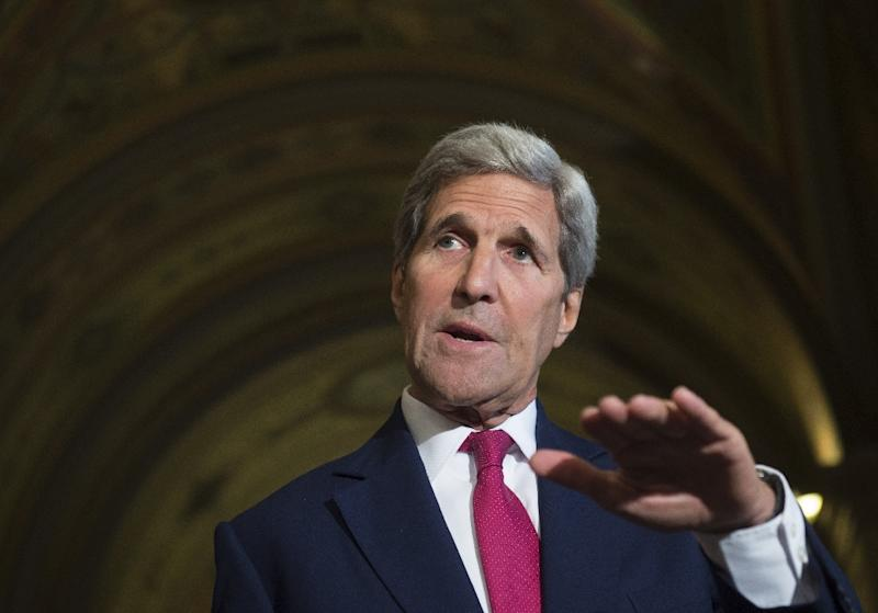 US Secretary of State John Kerry speaks about the Iran nuclear deal following a meeting at the US Capitol in Washington, DC on September 9, 2015 (AFP Photo/Saul Loeb)